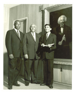 Stephen J. Wright, Arna Bontemps, Ashakant Nimbark, and portrait of Frederick Douglass