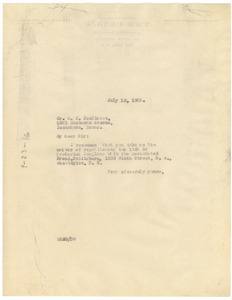 Letter from W. E. B. Du Bois to G. C. Pendleton