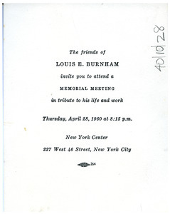 Invitation from Committee of Friends of Louis E. Burnham to W. E. B. Du Bois