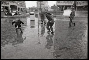 Vietnam Veterans Against the War demonstration 'Search and destroy': street theater at Government Center Plaza