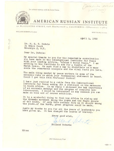 Letter from American Russian Institute to W. E. B. Du Bois