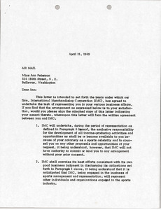Letter from Mark H. McCormack to Ann Peterson