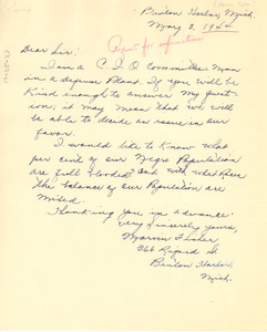 Letter from Marvin Fisher to W. E. B. Du Bois