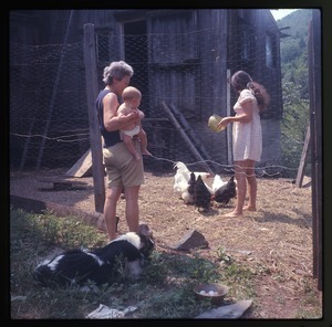 Nina Keller feeding chickens in their coop, with mother and baby Eben Light, Montague Farm Commune