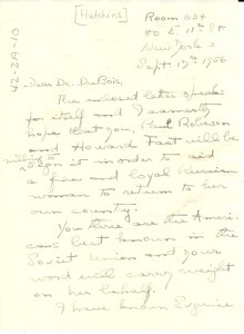 Letter from Grace Hutchins to W. E. B. Du Bois