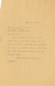 Letter from W. E. B. Du Bois to William E. Taylor