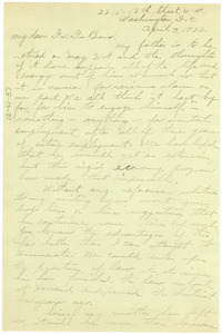Letter from Alyss Mae Hershaw to W. E. B. Du Bois