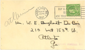 Note from Cyril Clemens to W. E. B. Du Bois