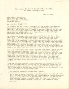 Letter from Georgia Teachers and Education Association to Works Progress Administration of Georgia