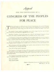 Appeal for the convocation of a congress of the peoples for peace