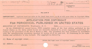 Application for copyright for periodical published in United States