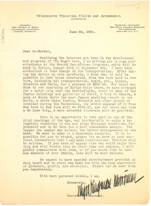 Circular letter from the Women's Travel Club of America