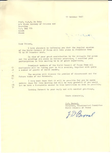 Letter from World Peace Council to W. E. B. Du Bois
