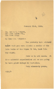 Letter from W. E. B. Du Bois to Louis T. Wright