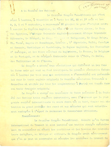 Letter from Pan-African Congress to League of Nations