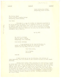 Letter from Lewis K. McMillan to South Carolina A. & M. College Board of Trustees