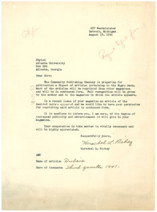 Letter from Herschel L. Richey to Phylon