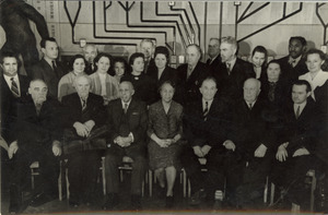 Group portrait of participants in unidentified Russian conference