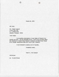 Letter from Mark H. McCormack to Ralph Garrard