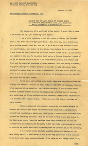 Advance text of radio speech by Frances Smith