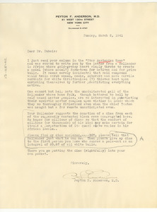Letter from Peyton F. Anderson to W. E. B. Du Bois