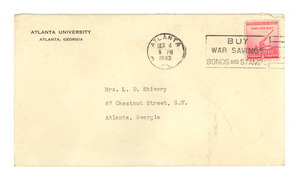 Envelope from W. E. B. Du Bois to Louie Shivery