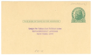 Postcard from the League for Independent Political Action