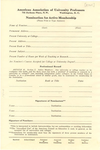 American Association of University Professors blank nomination for active membership form