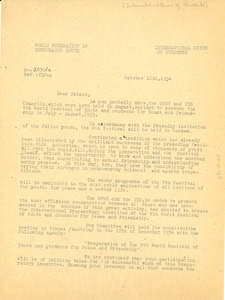 Circular letter from International Union of Students to W. E. B. Du Bois