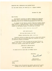 Circular letter from Committee for a Democratic Far Eastern Policy to W. E. B. Du Bois