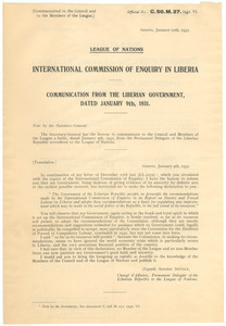 Correspondence between the League of Nations and the Delegate of the Liberian Republic to the League of Nations