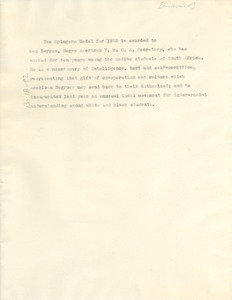 1932 Spingarn Medal announcement