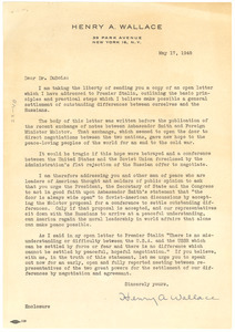 Letter from Henry A. Wallace to W. E. B. Du Bois