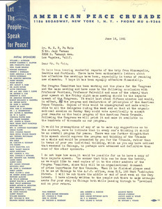 Letter from American Peace Crusade to W. E. B. Du Bois