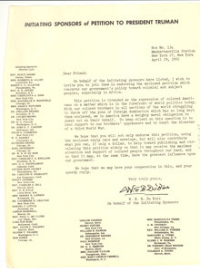 Circular letter from Initiating Sponsors of Petition to President Truman to unidentified correspondent