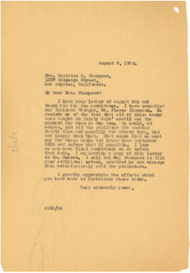 Letter from W. E. B. Du Bois to Beatrice S. Thompson