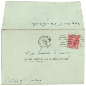 Letter from Atlanta University Library to Louie Shivery