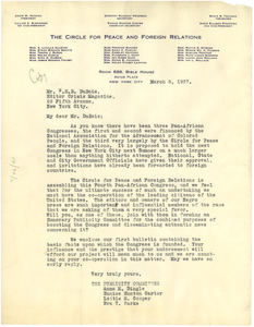 Letter from Circle for Peace and Foreign Relations to W. E. B. Du Bois