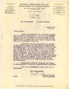 Letter from William Pickens to NAACP Board of Directors