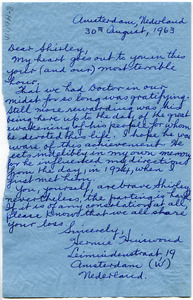 Letter from Hermie Hinswoud to Shirley Graham Du Bois
