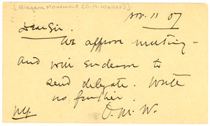 Postcard from O. M. Waller to W. E. B. DuBois
