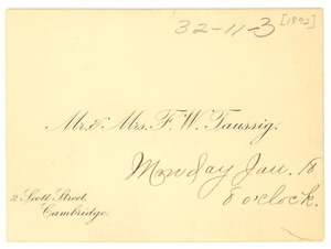 Calling card for Mr. & Mrs. F. W. Taussig