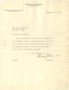 Letter from Howard University to W. E. B. Du Bois