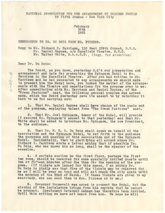 Memorandum from William Pickens to W. E. B. Du Bois