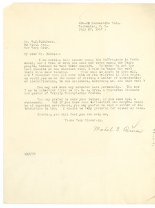 Letter from Mabel E. Brown to W.E.B. Du Bois