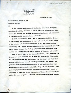 Letter from W. E. B. Du Bois to Literary Gazette