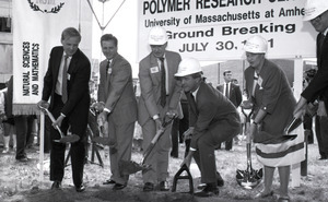 Ceremonial groundbreaking: group including Gov. William Weld (center), flanked by Gordon Oakes and Corinne Conte