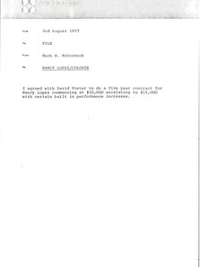 Memorandum from Mark H. McCormack concerning Nancy Lopez and Colgate