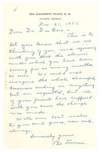 Letter from George and Nellie Towns to W. E. B. Du Bois