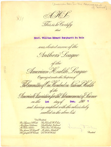 Author's League of the American Health League membership certificate.